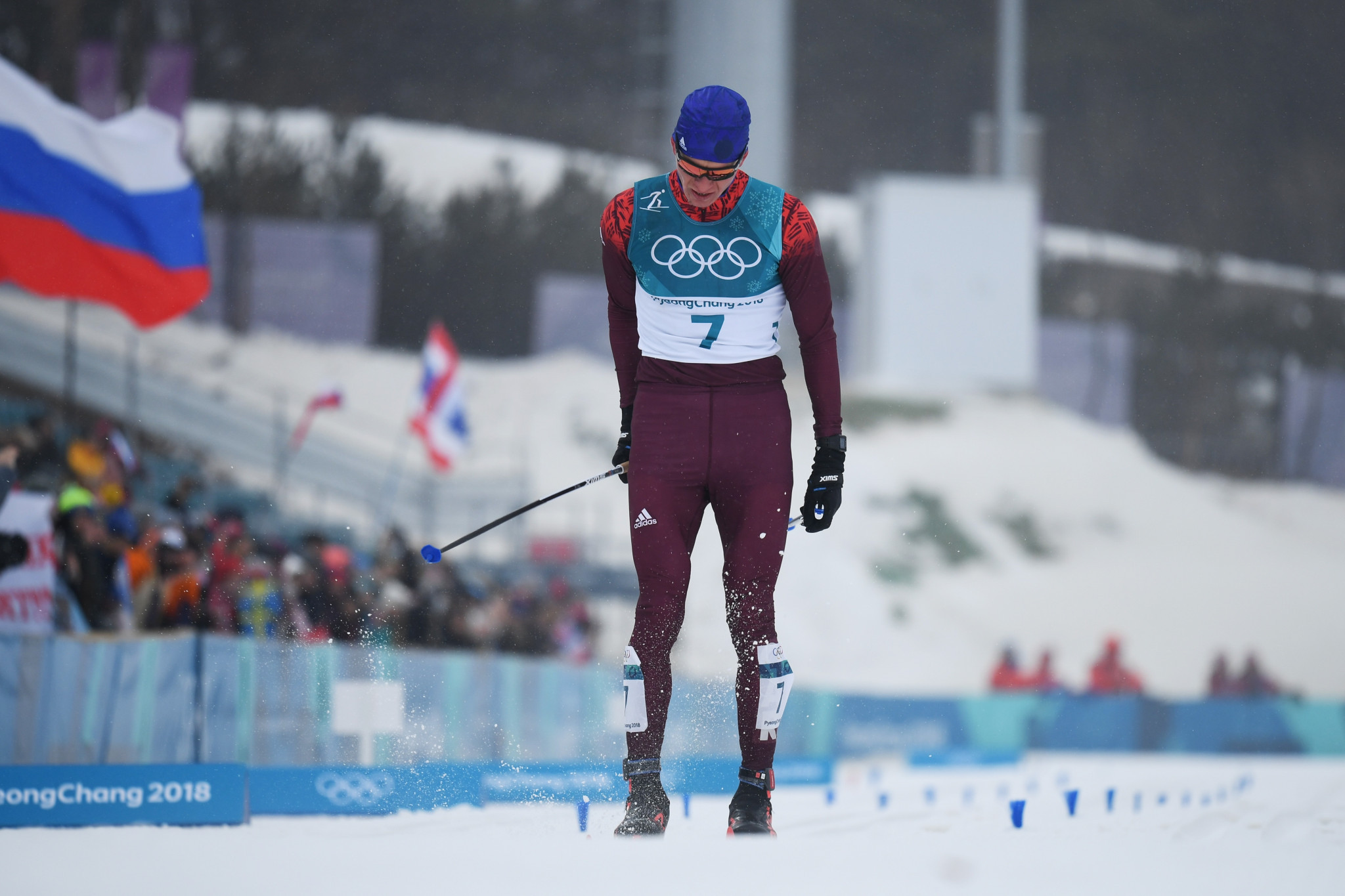 OAR's Alexander Bolshunov was bitterly disappointed with his second-place finish ©Getty Images
