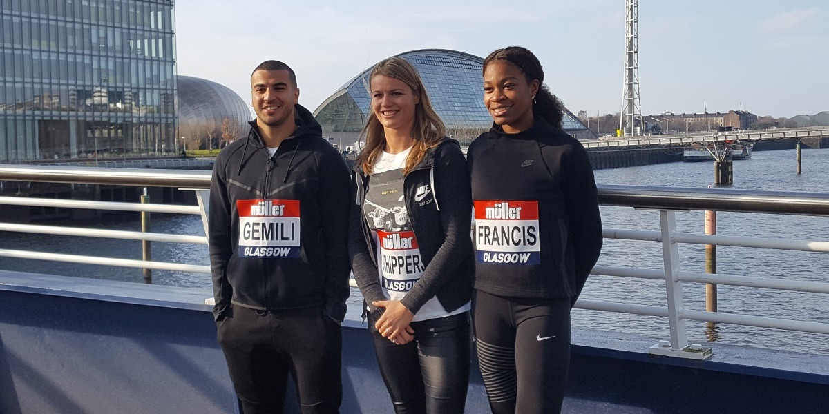Dafne Schippers, centre, is among the leading names competing at the IAAF World Indoor Tour event in Glasgow ©British Athletics