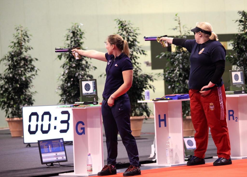 Celine Goberville triumphed in the women's 10m air pistol final ©ESC