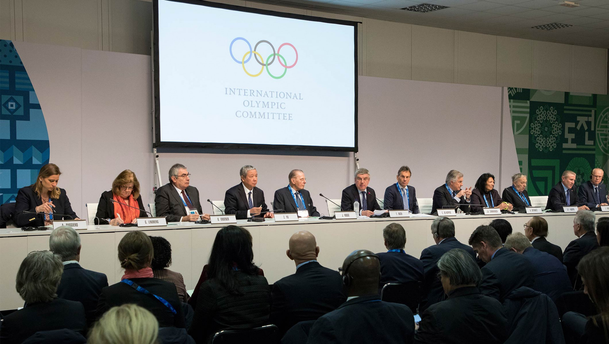 IOC Executive Board members pictured during the IOC Session today ©IOC
