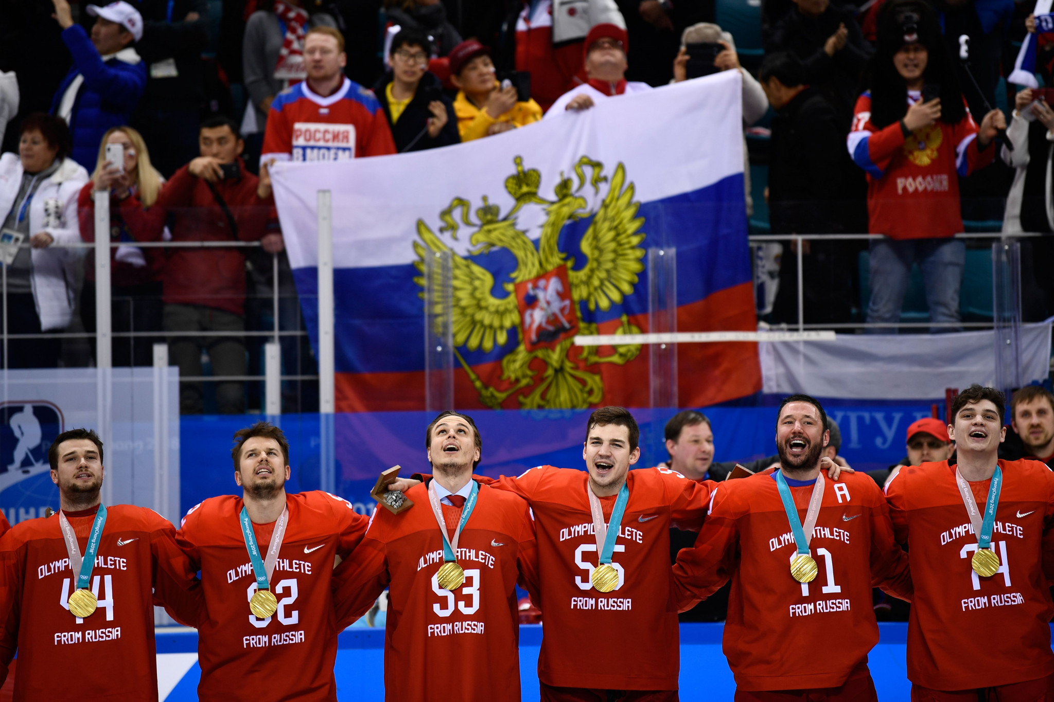 The OAR's players sung the Russian national anthem after receiving their gold medals ©Getty Images
