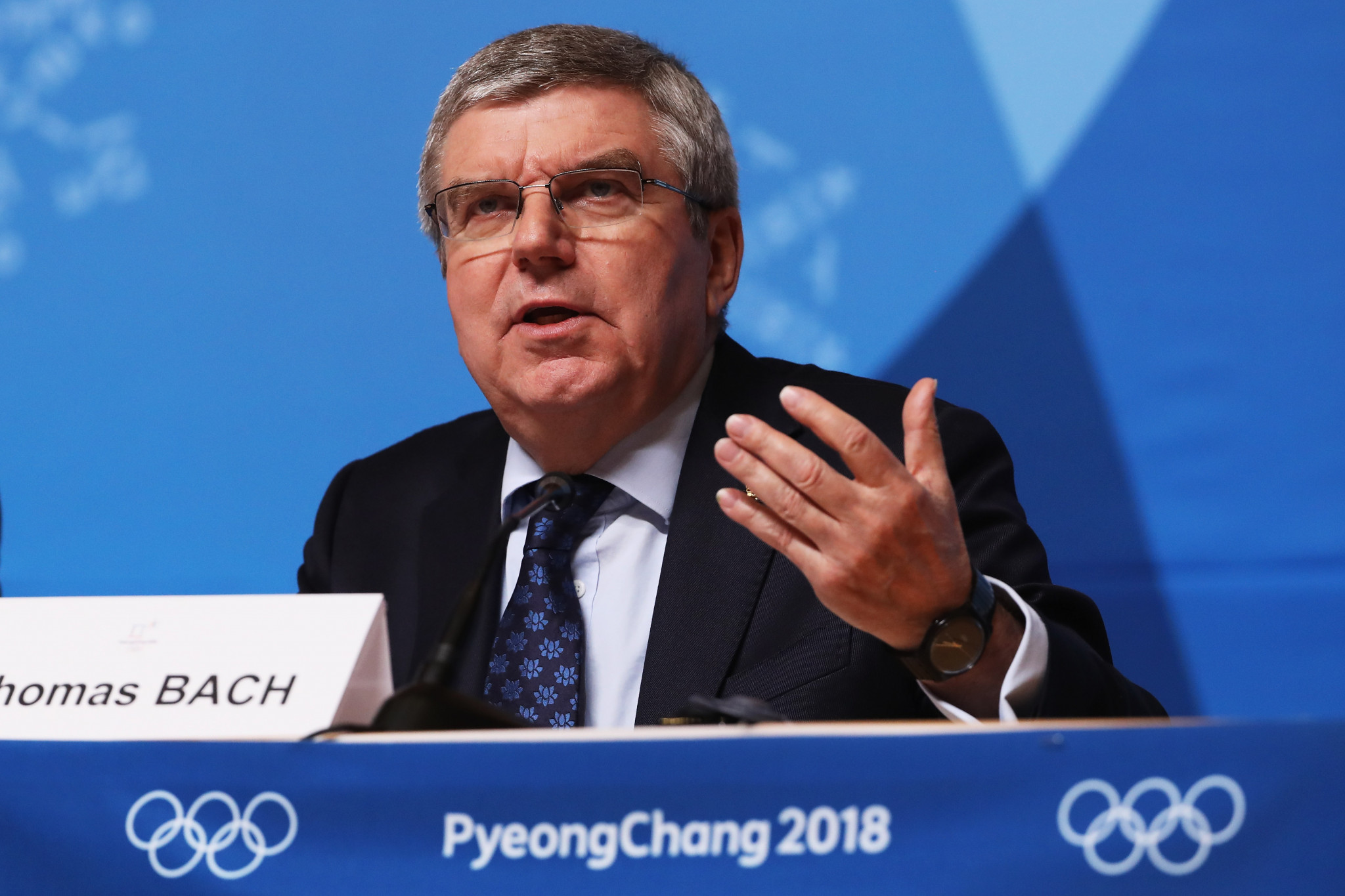 Russian doping questions dominated Thomas Bach's closing press conference at Pyeongchang 2018 ©Getty Images