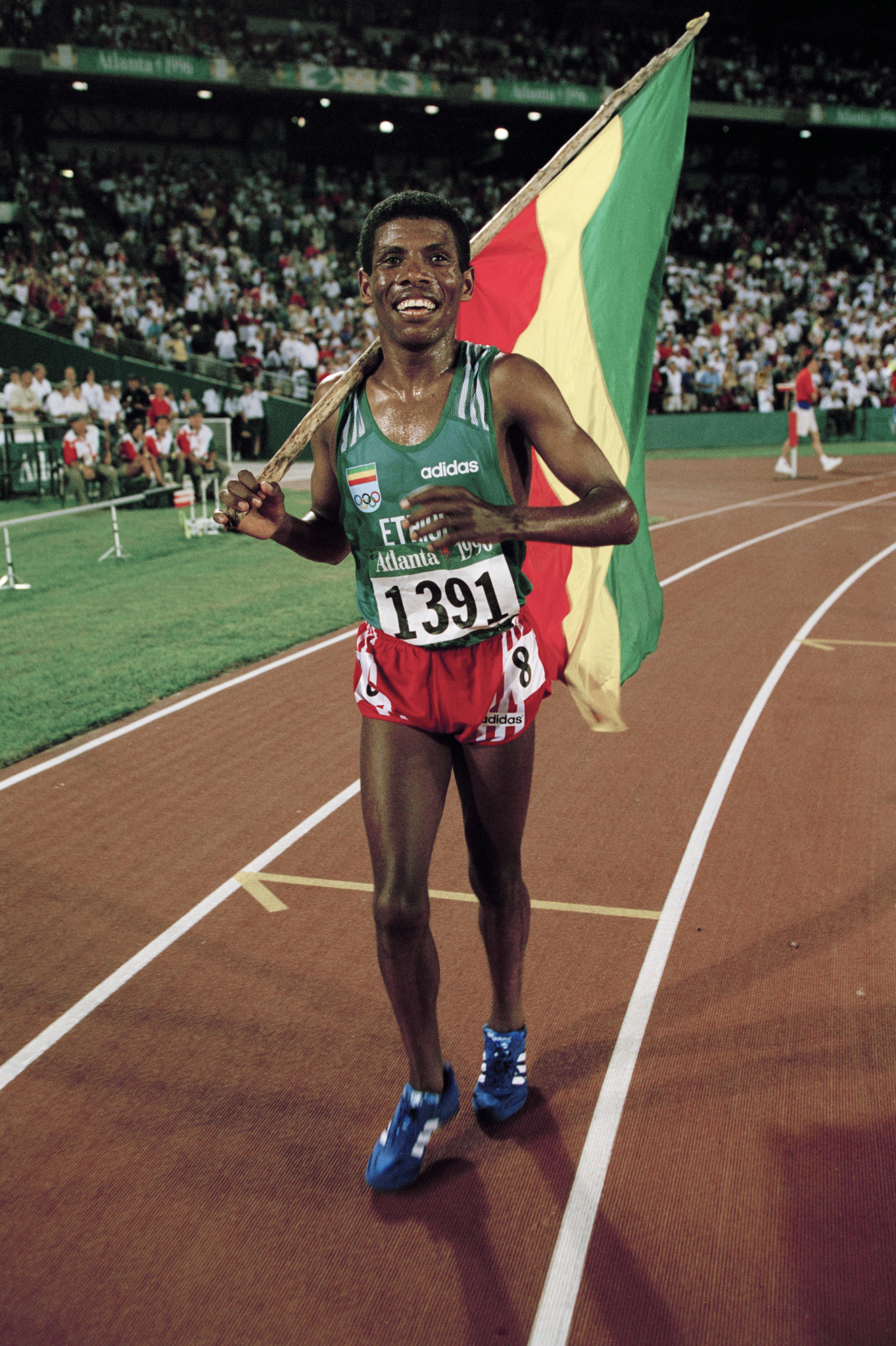Memorabilia from Ethiopia's multiple world and Olympic champion Haile Gebreselassie, pictured after winning 10,000m gold at the 1996 Atlanta Games, will be among items donated to the new IAAF Heritage department this week at the IAAF World Indoor Championships