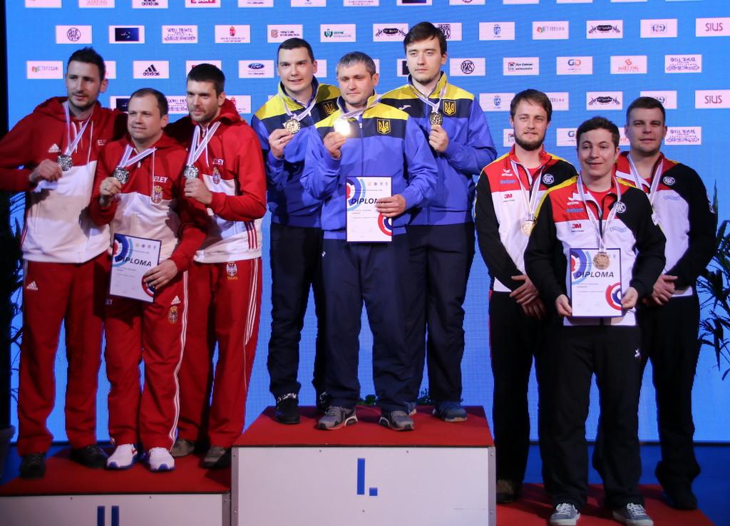 Ukraine finished top of the podium in the men's 10m air pistol team event ©ESC