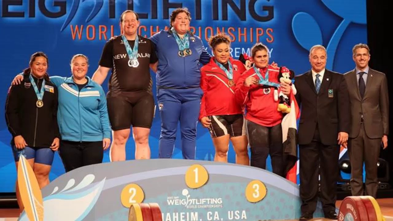 Laurel Hubbard, third left, won a silver medal in the women's over 90kg category at the IWF World Championships in Anaheim last year - the best ever performance by a New Zealand weightlifter ©YouTube