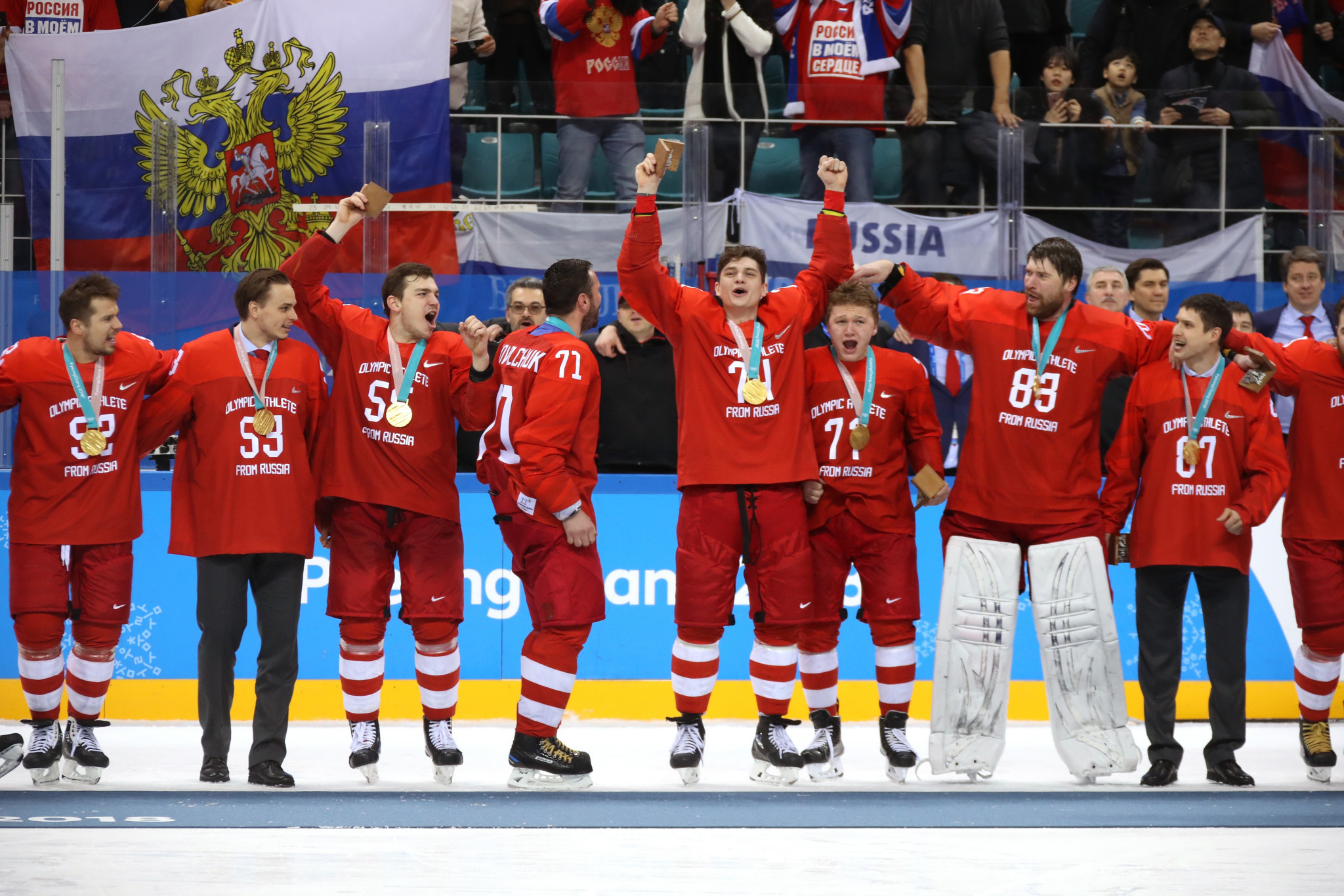 OAR athletes sung the Russian National Anthem after their ice hockey gold in Pyeongchang, despite an IOC ban ©Getty Images