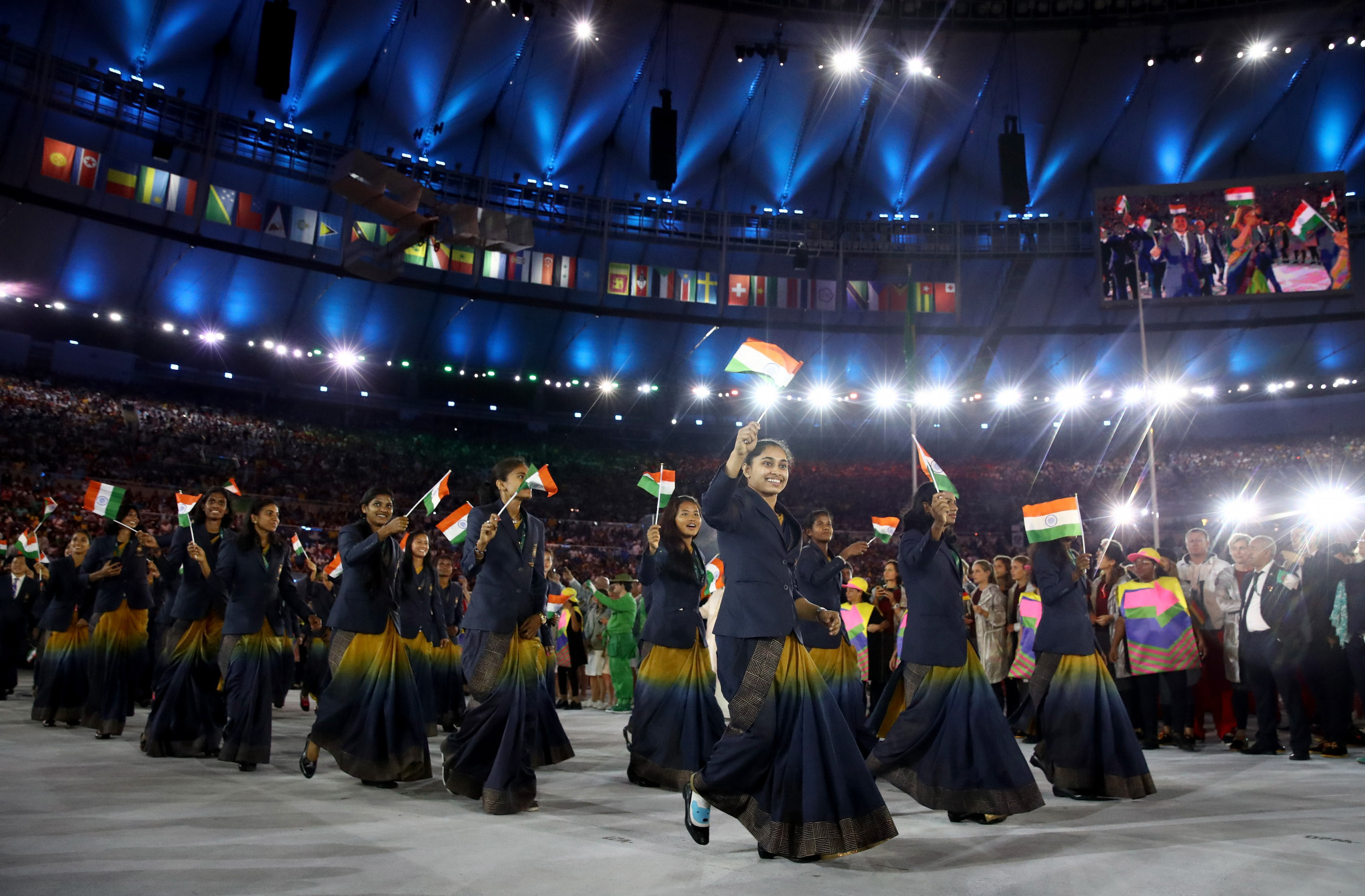 Indian female athletes have worn saris at past Opening Ceremonies ©Getty Images