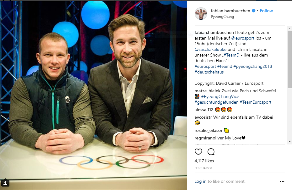 Former German gymnast Fabian Hambuechen, left, was involved in Eurosport coverage from the German Team House at the Pyeongchang 2018 Games ©Instagram