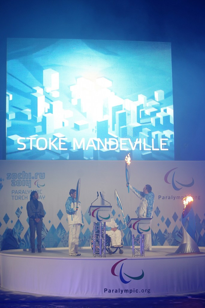 The Heritage Flame ceremony at Stoke Mandeville before Sochi 2014