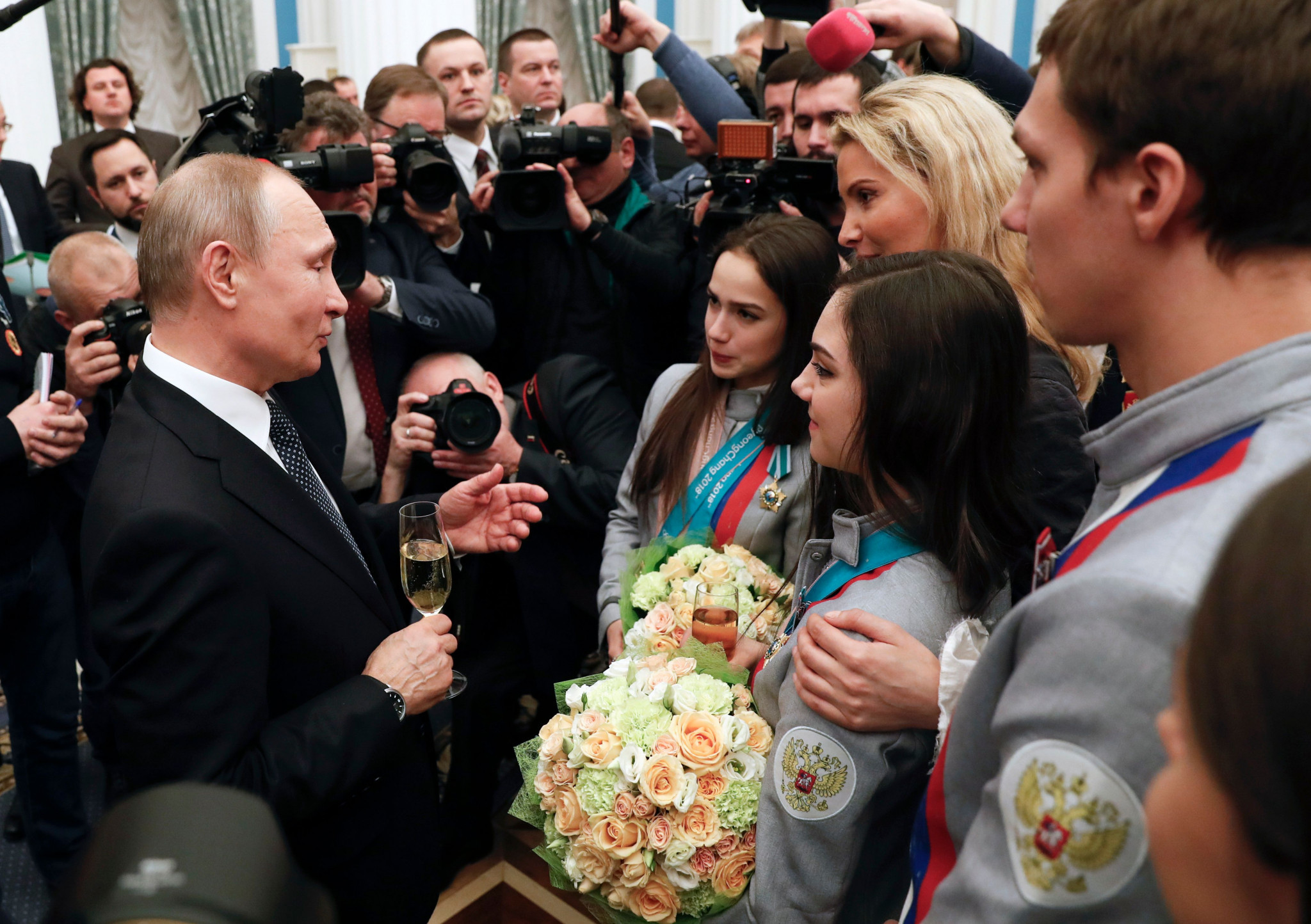 Russian President Vladimir Putin met with medallists at the Kremlin today ©Getty Images