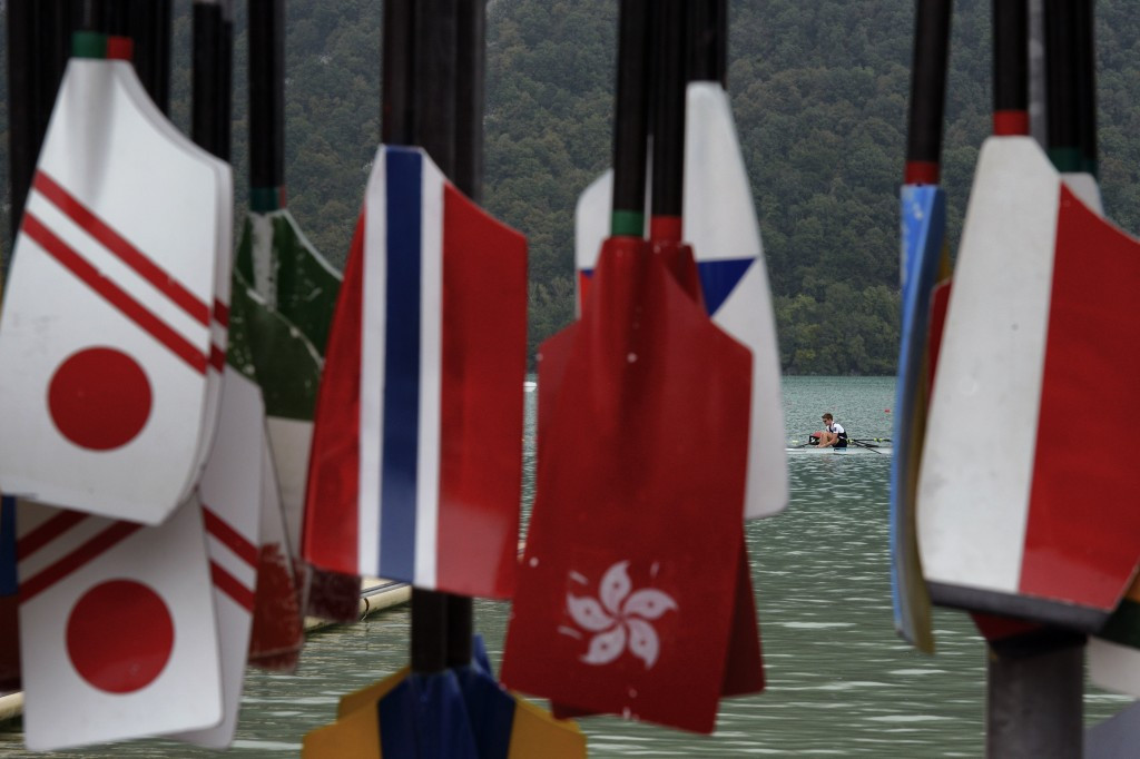Paddles representing various nations at the World Rowing Championships today ©Getty Images