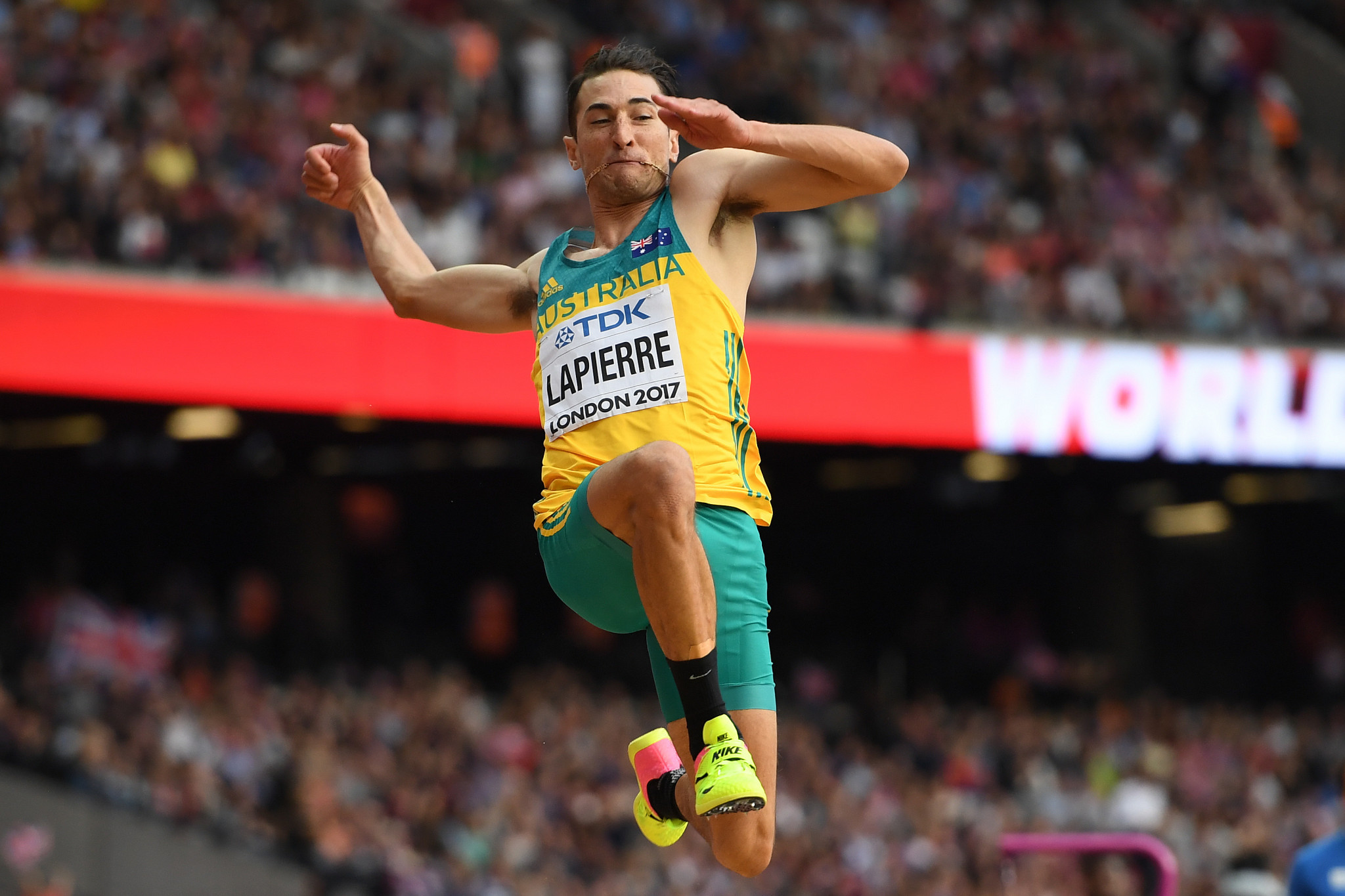 Long jumper Fabrice Lapierre is one of five athletes who are set to appear at their fourth Commonwealth Games ©Getty Images