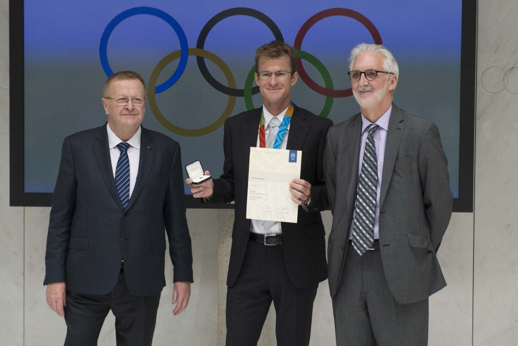 Michael Rogers was awarded a bronze medal from Athens 2004 in Lausanne