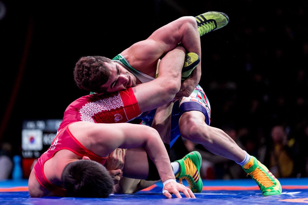 Iran's Ezzatollah Akbarizarinkolaei will be hoping to stop the Uzbekistan juggernaut when he meets Rashid Kurbanov in the 79kg final at the Asian Wrestling Championships ©UWW