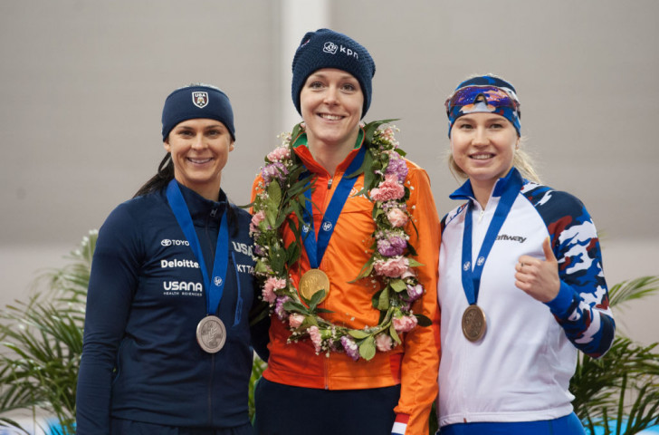 Jorien ter Mors of The Netherlands won gold at the World Sprint Speed Skating Championships in Changchun, with Brittany Bowe of the United States, left, taking silver and bronze going to Russia's Olga Fatkulina ©ISU