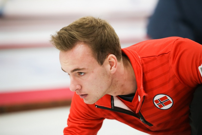 Norway's skip Magnus Ramsfjell led his team to a first win today ©WCF