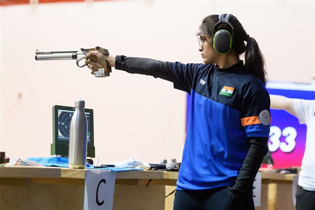 Manu Bhaker won her second gold medal of the event ©ISSF