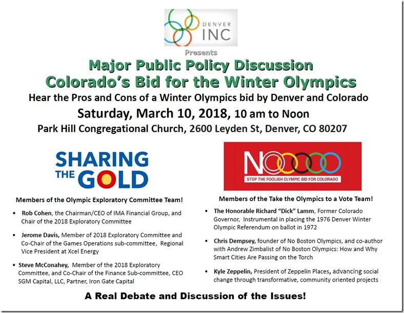 A leading member of the campaign group which forced Boston to abandon its 2024 Olympic Games bid has been confirmed among the speakers at the first public debate on whether Denver should enter the race for the 2030 Games ©INC