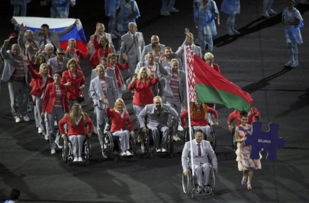 A representative of the Belarusian delegation carried a Russian flag during the Opening Ceremony of the Rio 2016 Paralympics ©IPC