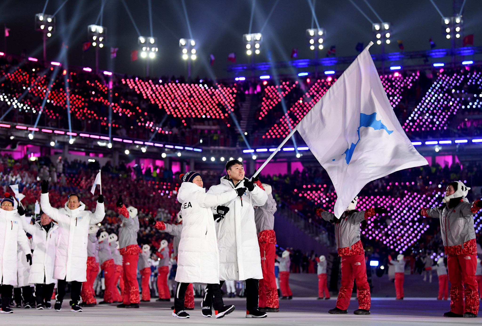 North and South Korea marched together under the unification flag at the Opening Ceremony of the Winter Olympic Games in Pyeongchang last month ©Getty Images